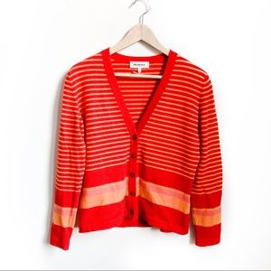 Rodier Striped Wool Blend Cardigan Sweater